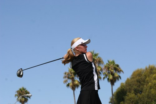 San Clemente sophomore Olga Mihlaik tees off in a South Coast League match against Laguna Hills on September 17. Photo by Steve Breazeale