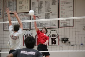 Junior middle blocker Brandon Hopper, right, and the San Clemente boys volleyball team are looking to make another deep CIF playoff run in 2014. Photo by Steve Breazeale