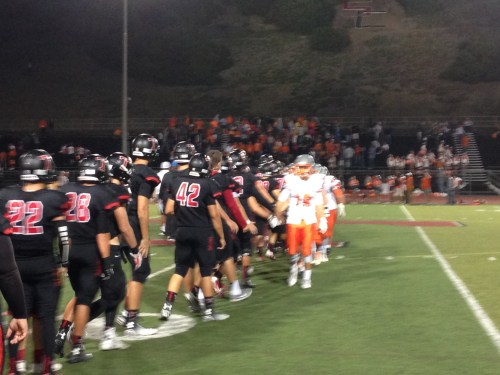 The San Clemente High School football team shakes hands after beating Atascadero 49-20 on Sept. 19. Photo: Steve Breazeale
