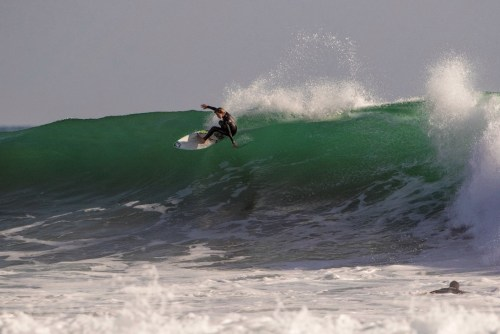 David Economos finishes out the wave shown above. Photo: Jack McDaniel