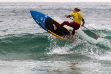 Candice Appleby of San Clemente took a convincing win and the Open Women SUP national title in Cardiff on Sunday, June 14. Photo: Surfing America/Jack McDaniel