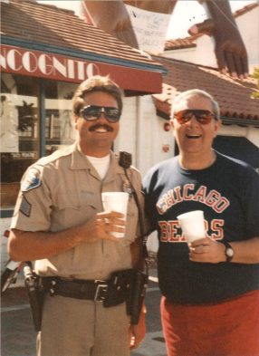 """Richard Corder, left, and Albert """"Ace"""" Ehlow stand together in a 1987 photo in San Clemente. Photo: Courtesy of Richard Corder"""