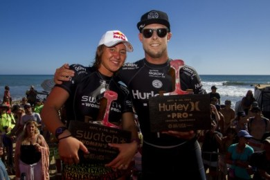 Carissa Moore (HAW) and Mick Fanning (AUS) are the 2015 Swatch Women's Pro and 2015 Hurley Pro Champions. Photo: WSL/Kenny Morris