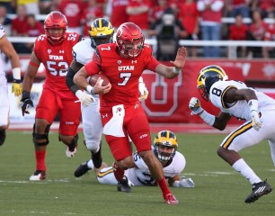 San Clemente native Travis Wilson, seen here against Michigan on Sept. 3, earned PAC-12 offensive player of the week honors following a 62-20 win over Oregon on Sept. 26. Photo: University of Utah Athletics