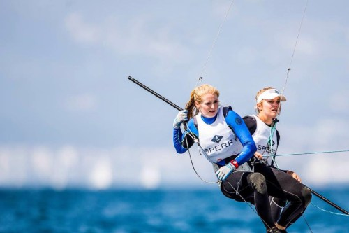 San Clemente native Paris Henken, right, and U.S. Sailing Team Sperry teammate Helena Scutt will represent the United States in the 49erFX sailing event at the 2016 Olympic Games. Photo: Sailing Energy