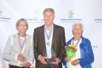 L to R: Joyce Hoffman, Bob Yoder and Doris Stephens were inducted into the San Clemente Sports Wall of Fame in 2016. Photo: Eric Heinz