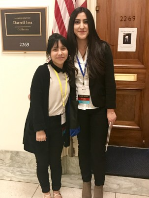 San Clemente High School students, Yuki Dias, left, and Helen Calderon advocate for prevention funding at Darrell Issa's office in Washington, D.C. Photo: Courtesy of Susan Parmelee