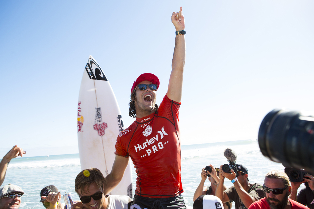 Jordy Smith of Durban, South Africa (pictured) won the Hurley Pro Trestles, defeating John John Florence (HAW) in the Final on in California, USA on Thursday September 18, 2014. Smith posted a 9.33 and a 7.17 (out of ten) to earn his first victory of the 2014 season.