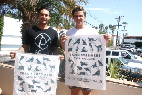 Shon Miller, left, of the San Clemente Beach Conservation Program, and Jackson Hinkle, of the San Clemente High School club Team Zissou, will help champion beach cleanup around T Street and the San Clemente Pier. Photo: Eric Heinz