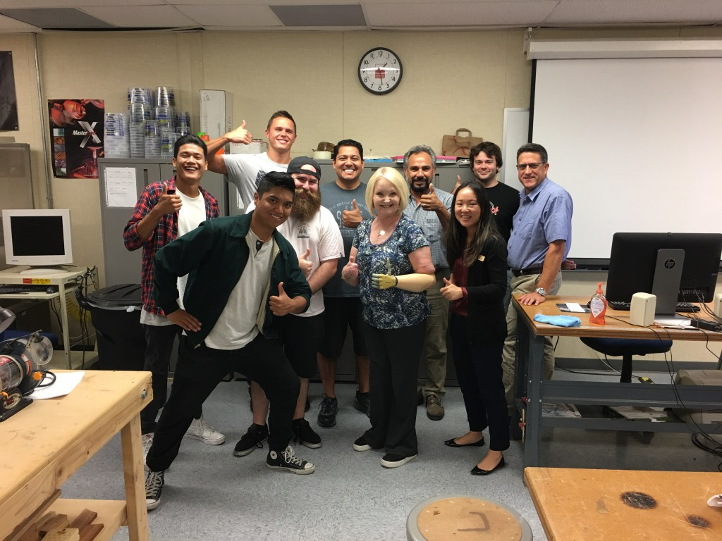 Guest Speaker Janet Yergler, a quadruple amputee, shared her recovery experience using prosthetic with students, faculty and staff at Saddleback College and emphasized the importance of the students' work on the project. Photo: Katlin Choi