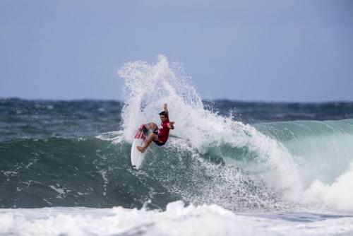 Griffin Colapinto of USA is photographed in semifinal heat 1 and advanced to the finals of the 2017 WSL Hawaiian Pro at Haleiwa, Hawaii. Photo: Courtesy of WSL/Tony Heff