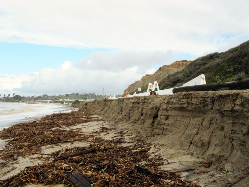 Coastal erosion during the winter months was evident in this January photo along a road to San Onofre surf areas. Photo: Jake Howard