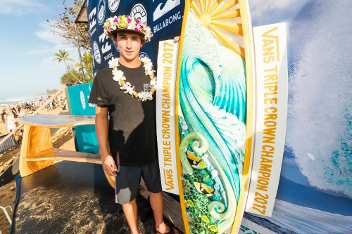 This December, San Clemente's Griffin Colapinto became the first surfer from California to ever win the prestigious Vans Triple Crown of Surfing title. He'll join Pat Gudauskas and Kolohe Andino on the WSL Championship Tour in 2018. Photo: Courtesy of WSL