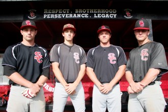 Charlie Loust, Michael McGreevy, Jeff Bruyntjens and Zach Skov (L to R) power San Clemente's strong offensive and swift defensive efforts on the diamond to take on a tough South Coast League. Photo: Zach Cavanagh