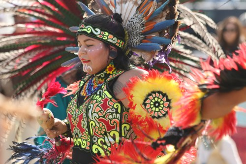Aztec dancers performed traditional dances and ceremonies during the Panhe festival in 2018 at the San Mateo Campground.