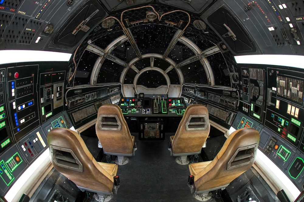 Inside Millennium Falcon: Smugglers Run at Star Wars: Galaxy's Edge at Disneyland Park in Anaheim, California, and at Disney's Hollywood Studios in Lake Buena Vista, Florida, guests will take the controls in one of three unique and critical roles aboard the fastest ship in the galaxy. (Joshua Sudock/Disney Parks)