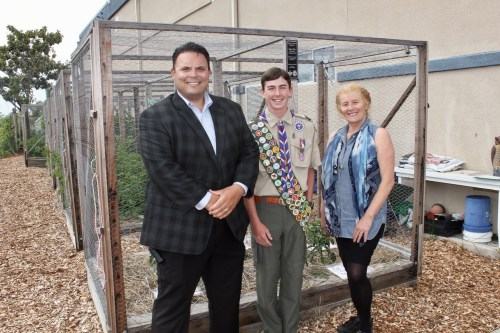 Pictured with Zane Pert are Dr. Brad Baker, Principal, Shorecliffs Middle School, and Jenny Goit, Science Teacher and Learning Garden Advisor, Shorecliffs Middle School.