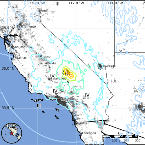 Southern California was rocked by two major earthquakes over the 4th of July weekend. A 6.4 magnitude quake first shook the city of Ridgecrest the morning of July 4, and a 7.1 tremor struck the desert town again the following evening. Photo: Courtesy of U.S. Geological Survey.