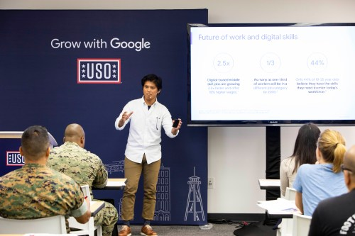 """Service members, veterans and military spouses participated in a """"Grow with Google"""" workshop at Camp Pendleton, put on by Google presenters and nonprofit United Service Organizations. Photo: Courtesy of Grow with Google"""