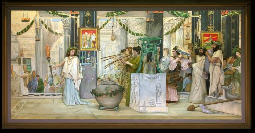 Here is 'The Vintage Festival,' an 1871 painting by Sir Lawrence Alma-Tadema, as presented at Pageant of the Masters. In one of the pageant's two casts, San Clemente's David Greuel, 13, is the bearded gentleman, second from right. Photo courtesy of Pageant of the Masters