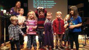 kids singing at church