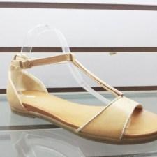 Sandale dama bej cu accesoriu auriu