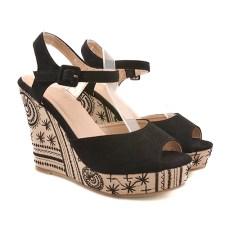 Sandale dama negre ortopedice toc 11