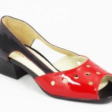 Sandale dama piele rosii cu negru lac toc 3
