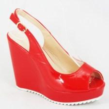 Sandale dama rosii ortopedice lac toc 11