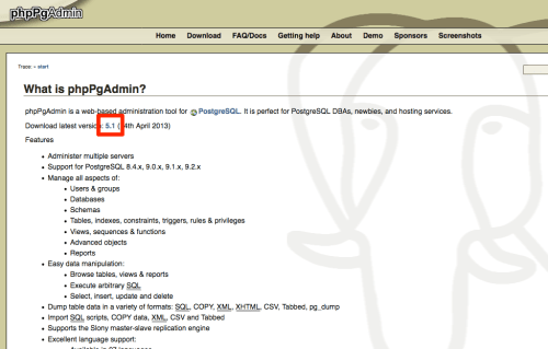 phpPgAdmin公式サイト