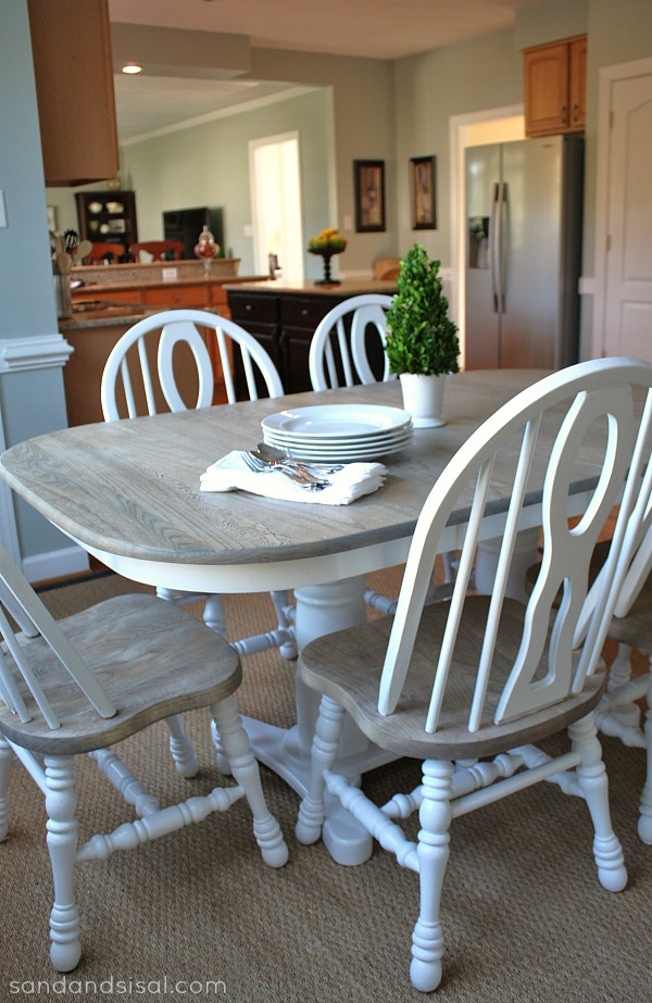 grey kitchen table and chairs all fancy chair how to refinish a sand sisal two toned