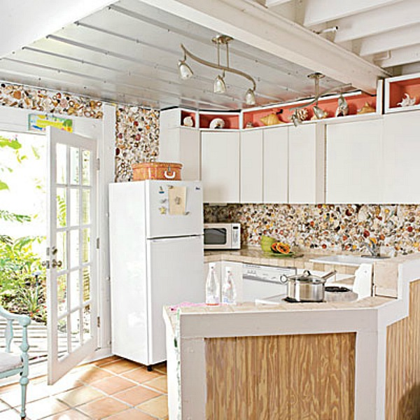 beach house kitchen backsplash ideas aid paddle attachment coastal and sand sisal shell