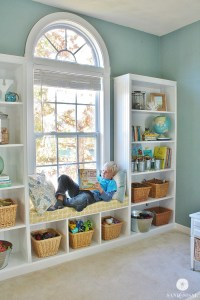 DIY Built-in Bookshelves + Window Seat - Sand and Sisal