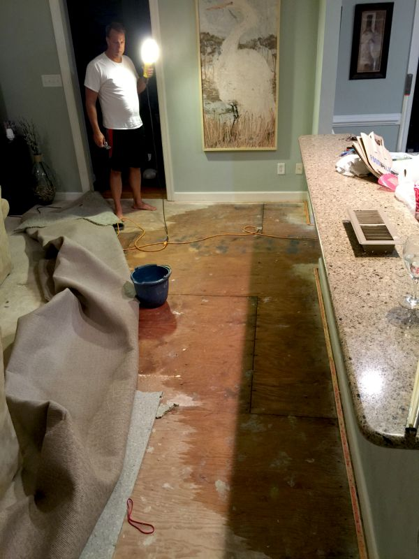Waking Up to a Flooded Kitchen  Familyroom  Sand and Sisal