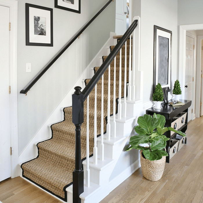 Painted Staircase Makeover With Seagrass Stair Runner | Black And White Stair Runners | Staircase | Hallway | Cool | Diy | Jute