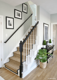 Painted Staircase Makeover with Seagrass Stair Runner