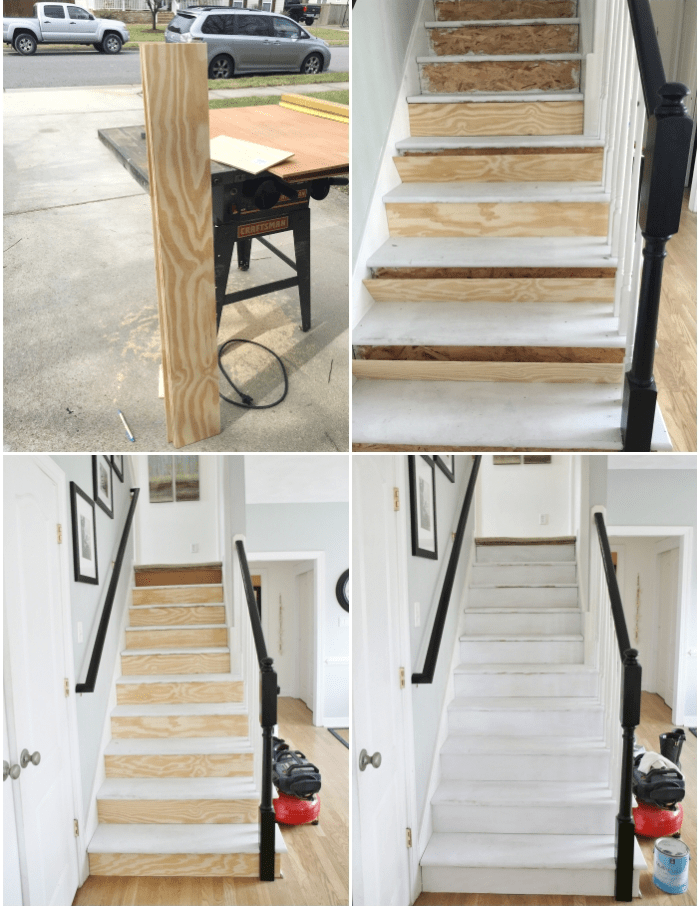 Painted Staircase Makeover With Seagrass Stair Runner | Replacing Particle Board Stair Treads | Basement Stairs | Carpeted Stairs | Plywood | Stair Nosing | Stair Case