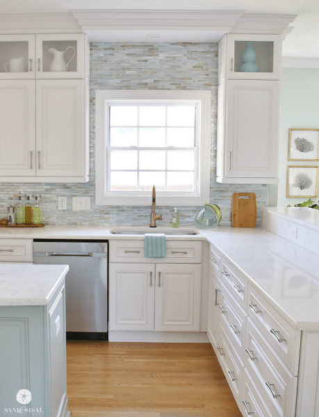coastal kitchens with white cabinets Coastal Kitchen Makeover - the reveal