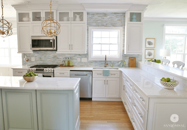 coastal kitchens with white cabinets Installing a Paper Faced Mosaic Tile Backsplash