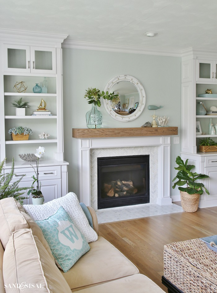 living room fireplaces pictures ideas to decorate small rooms coastal family and fireplace makeover sand sisal familyroom with builtins wood beam