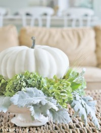 Hydrangea and White Pumpkin Fall Centerpiece - Sand and Sisal