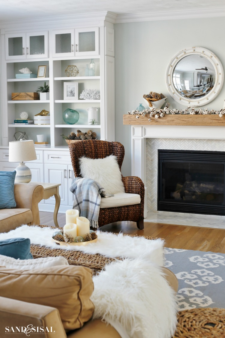 Cozy Winter Mantel  Easy Winter Decorating Ideas  Sand and Sisal