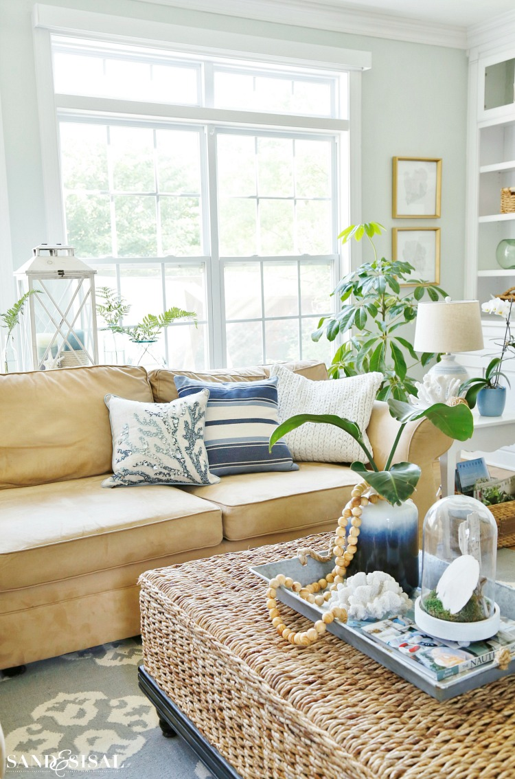 Summer Blues Coastal Family Room Tour  Sand and Sisal