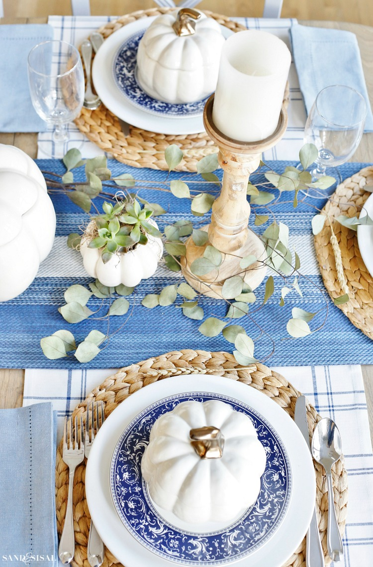 a blue and white