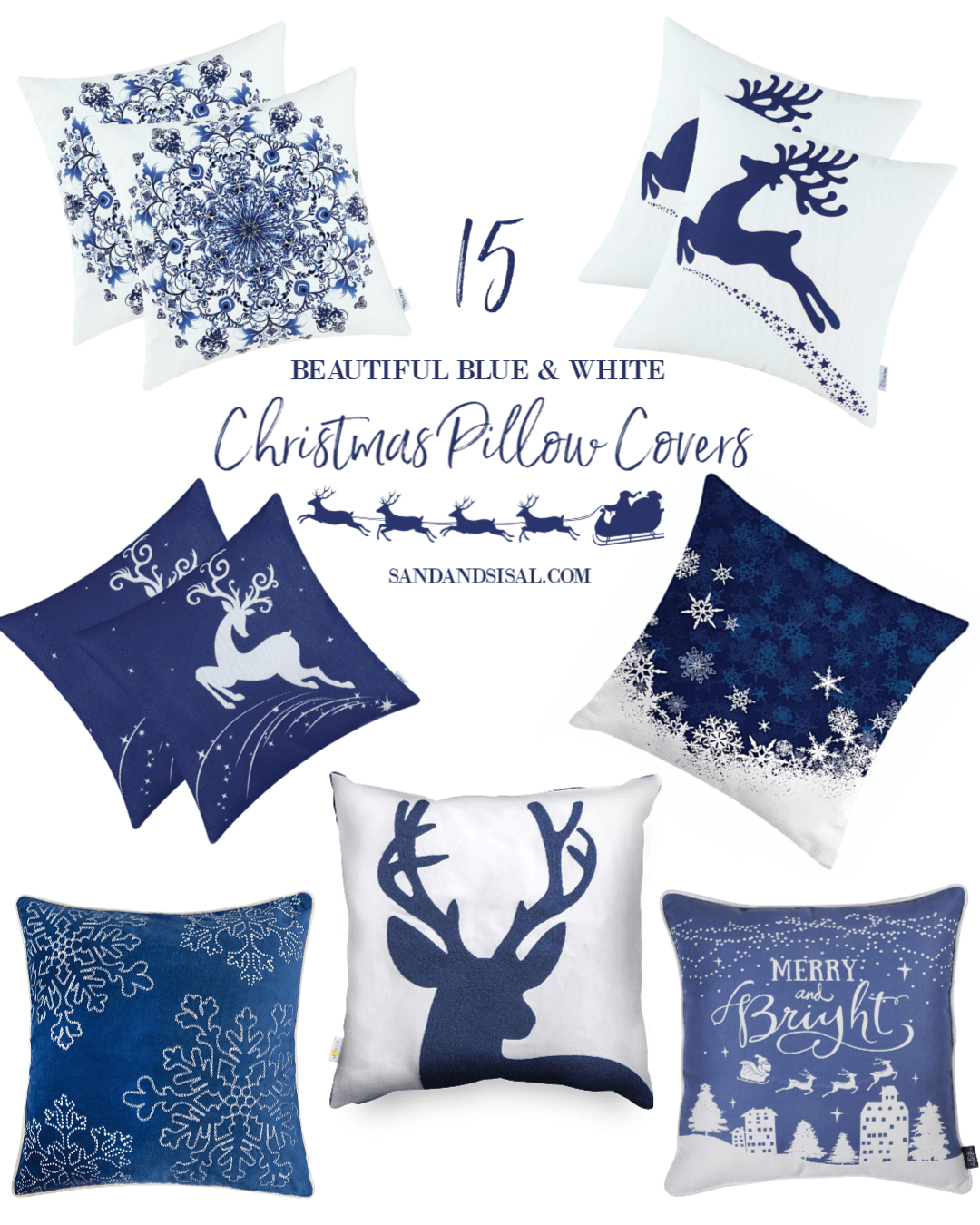 15 Beautiful Blue and White Christmas Pillow Covers