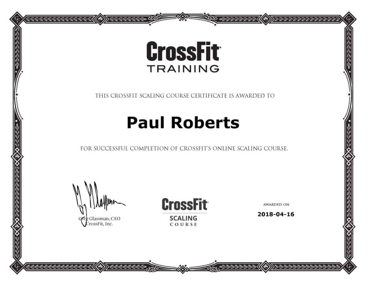 CrossFit Scaling Course Review and Certification by Paul