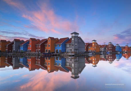 Colorful sunset at the Reitdiephaven.