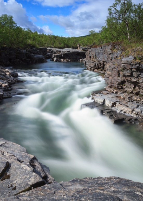 River in the canyon of Abisko National Park.