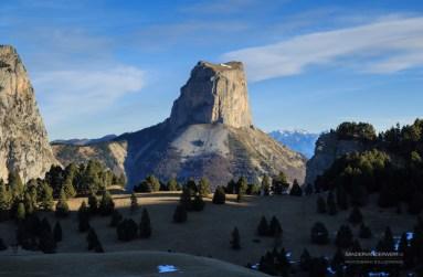 Mont Aiguille seen over the Vercors plateau.