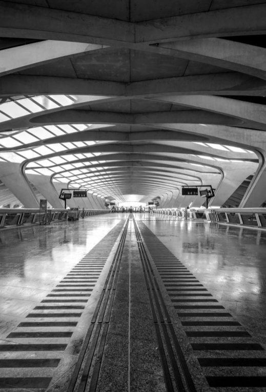 Trainterminal (TGV) of Lyon Saint Exupery airport train station.